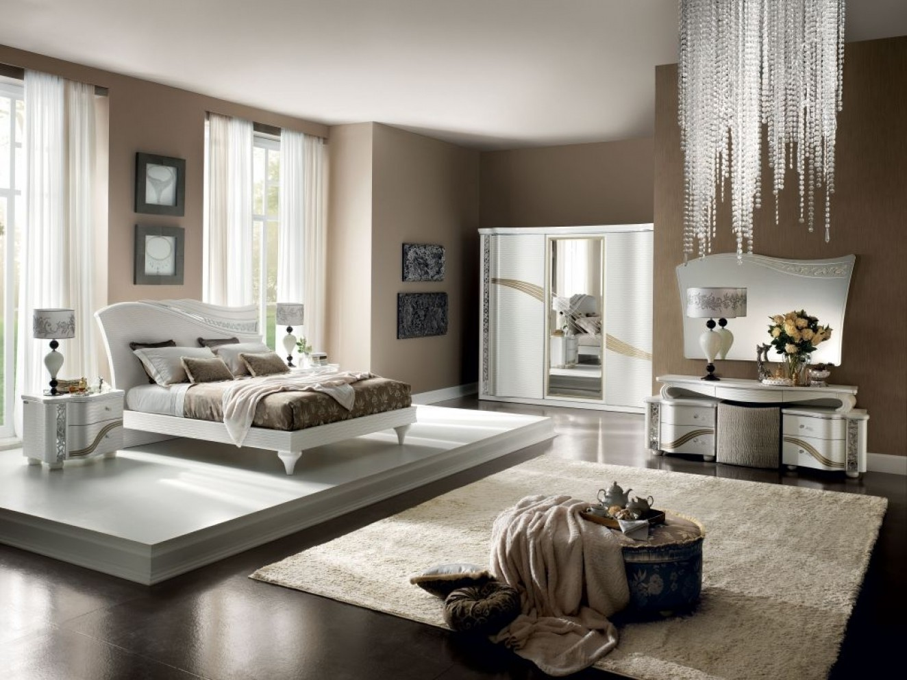 modele de chambre a coucher avec dressing with modele de chambre romantique. Black Bedroom Furniture Sets. Home Design Ideas