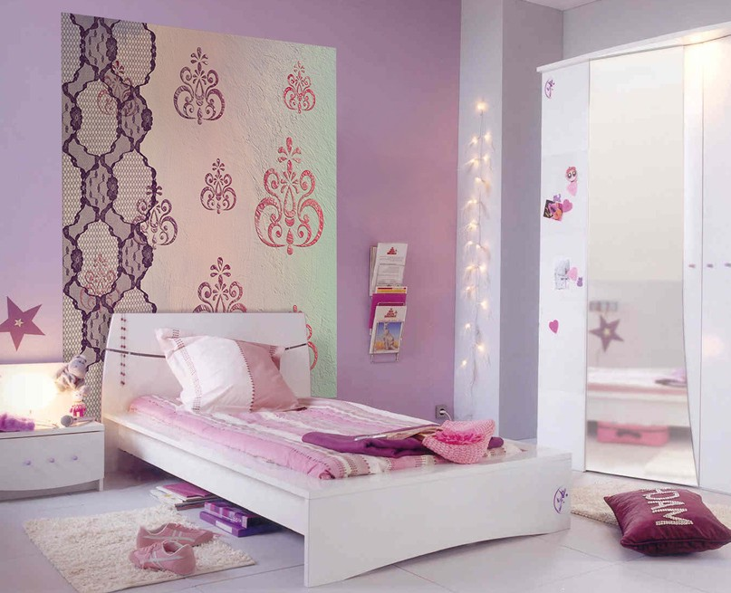 stunning papier peint chambre fille pictures. Black Bedroom Furniture Sets. Home Design Ideas