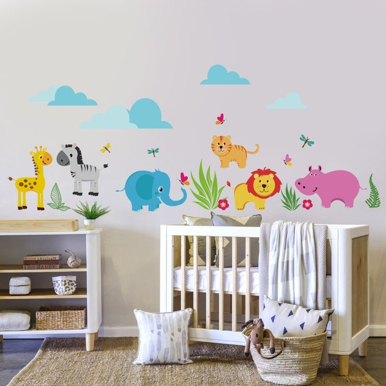 stunning stickers chambre bebe jungle contemporary. Black Bedroom Furniture Sets. Home Design Ideas