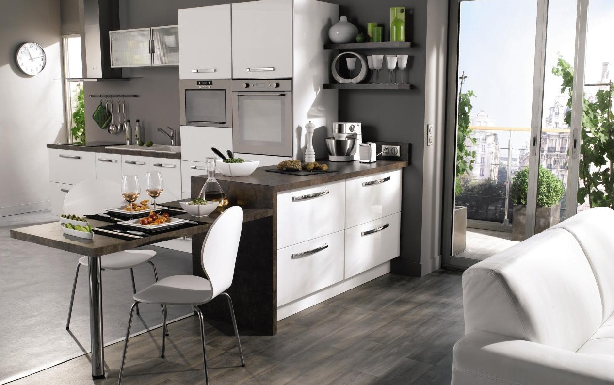 Agencement petite cuisine perfect petite cuisine with for Agencement salon cuisine 24m2