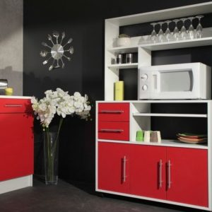 buffet de cuisine moderne 6 portes rouge italian cuisine. Black Bedroom Furniture Sets. Home Design Ideas