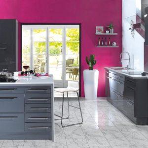 Cuisine couleur framboise et inox cuisine id es de for Cuisine couleur framboise