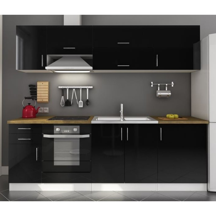 meuble bas de cuisine noir laqu cuisine id es de. Black Bedroom Furniture Sets. Home Design Ideas