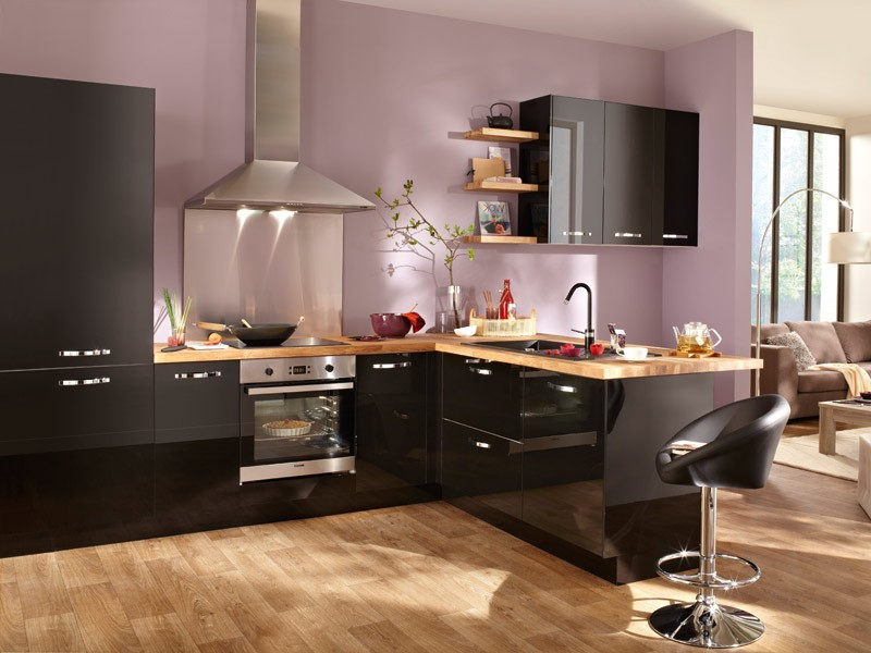 meuble cuisine noir laqu conforama cuisine id es de. Black Bedroom Furniture Sets. Home Design Ideas