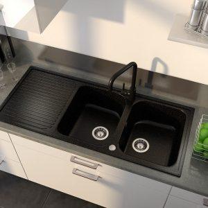 Evier Cuisine Granit Noir 2 Bacs