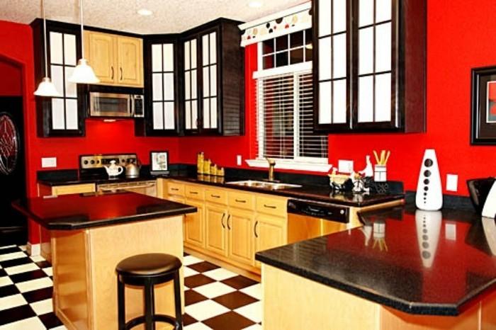 Modele de cuisine peinture en rouge cuisine id es de - Exemple peinture cuisine ...