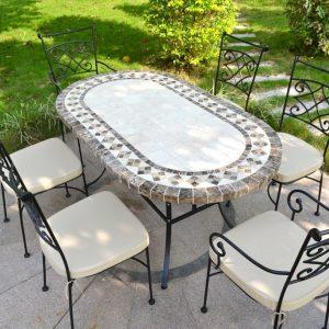 Table Cuisine Marbre Ovale