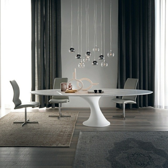 Table cuisine ovale avec pied central cuisine id es de d coration de mais - Table ovale pied central design ...