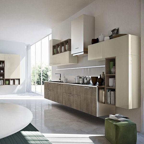buffet de cuisine moderne 6 portes vert italian cuisine. Black Bedroom Furniture Sets. Home Design Ideas