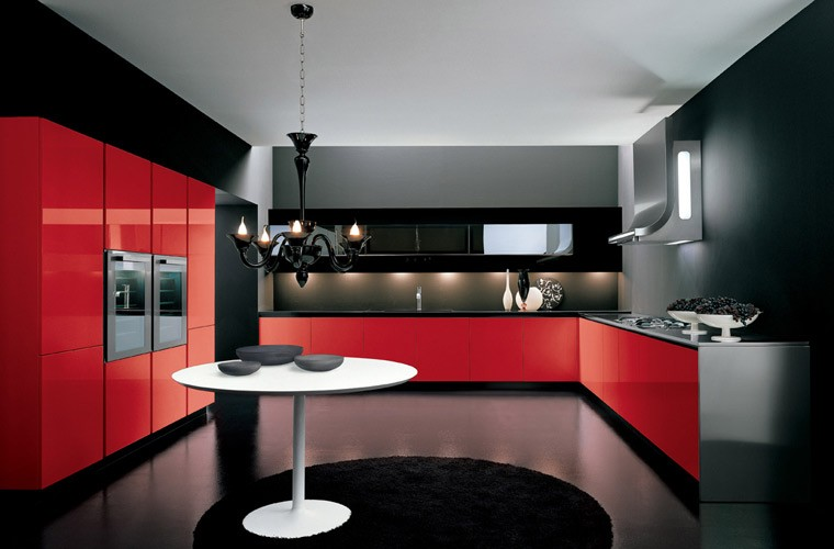 Cuisine Américaine Moderne Rouge