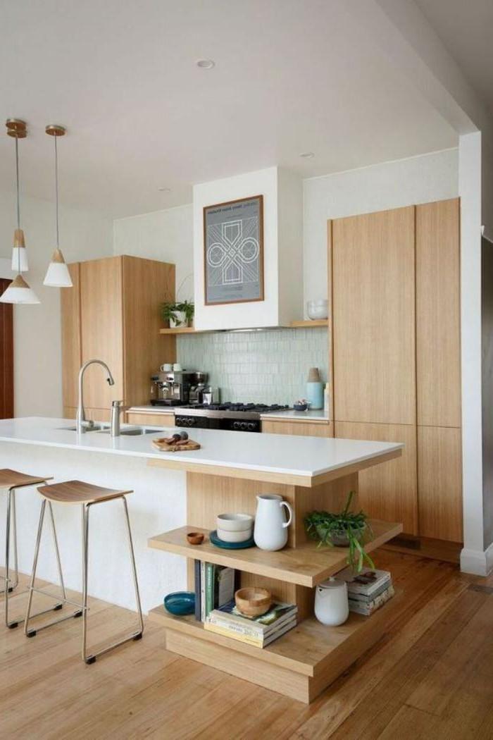 ilot central cuisine blanc et bois cuisine id es de. Black Bedroom Furniture Sets. Home Design Ideas