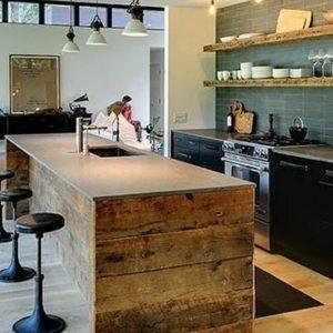 Ilot central cuisine bois brut cuisine id es de - Ilot cuisine bois massif ...