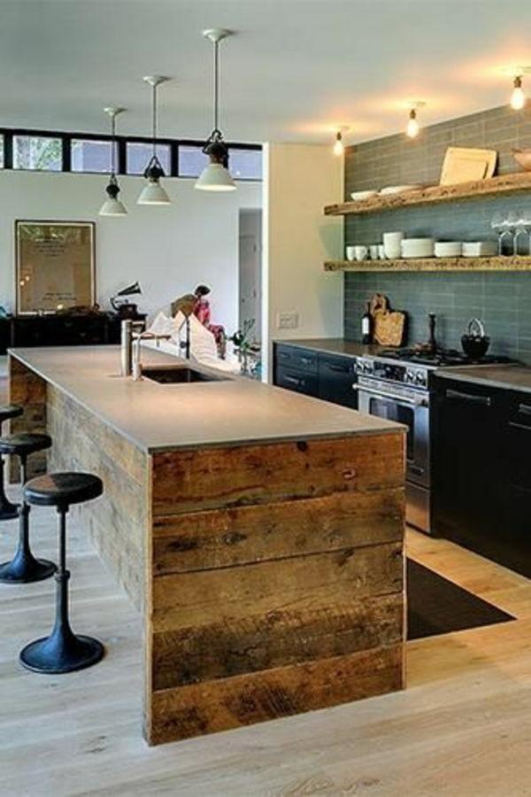 Ilot Central Cuisine Bois Massif Cuisine Idées de Décoration de Maison #PKLQ0E0nRA # Cuisine Ilot Central Bois