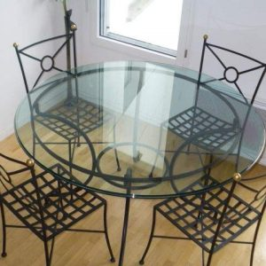 Set De Cuisine Table Ronde En Verre