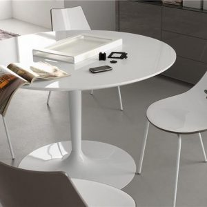 Table de cuisine ronde en verre pied central cuisine for Pied de table cuisine
