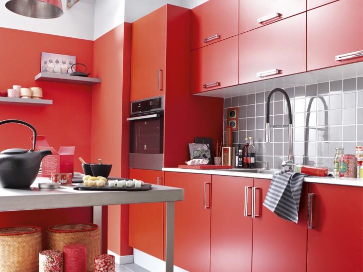 Modèle De Cuisine Rouge Et Noir