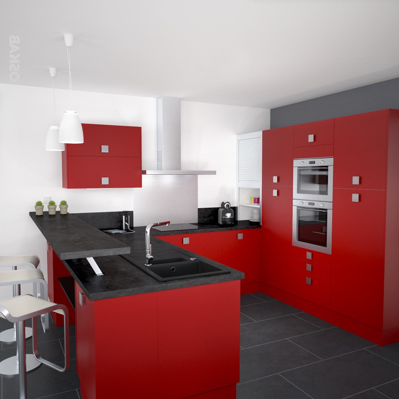 Modele De Cuisine Rouge Et Beige