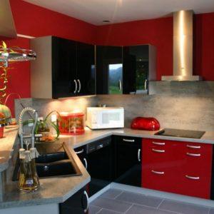 Modele De Cuisine Rouge Et Inox