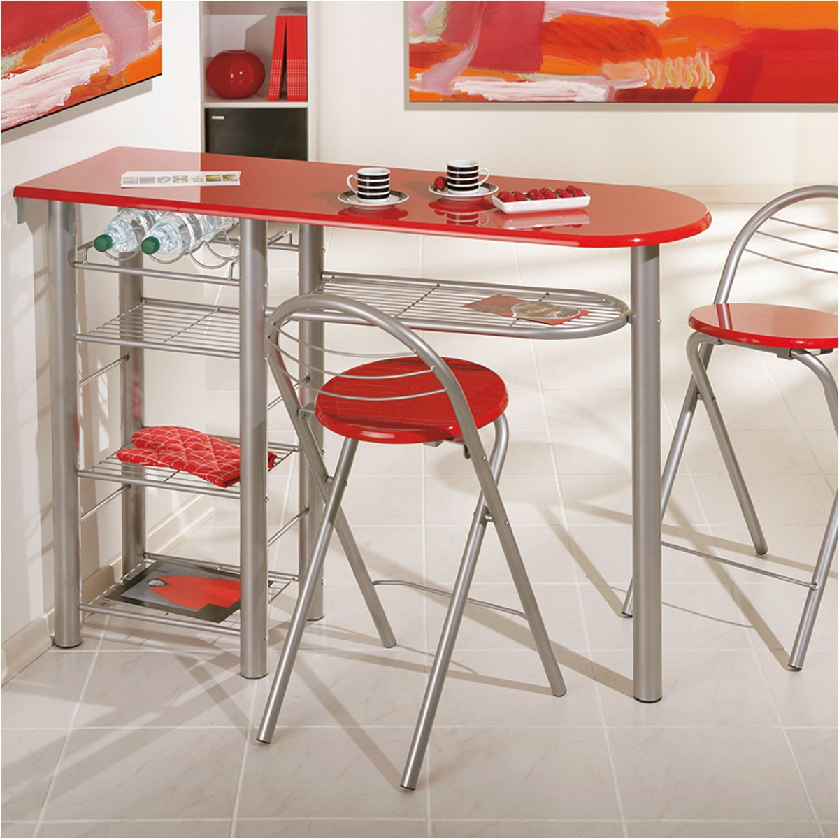 Table cuisine avec tabouret bar cuisine id es de for Cuisine table bar