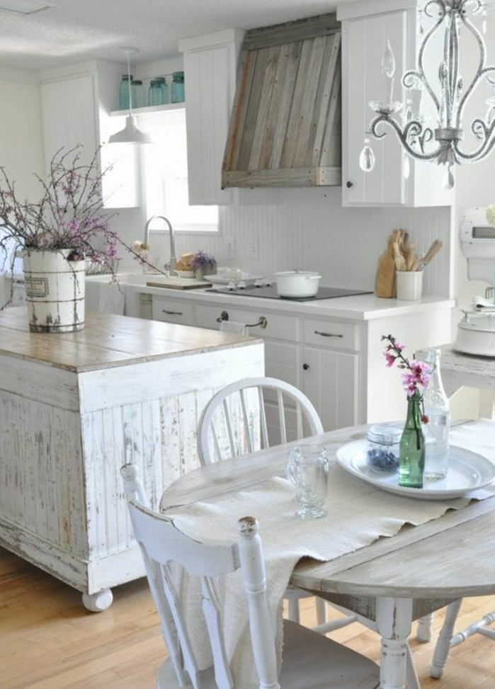 Table cuisine bois blanche cuisine id es de d coration for Table cuisine blanche