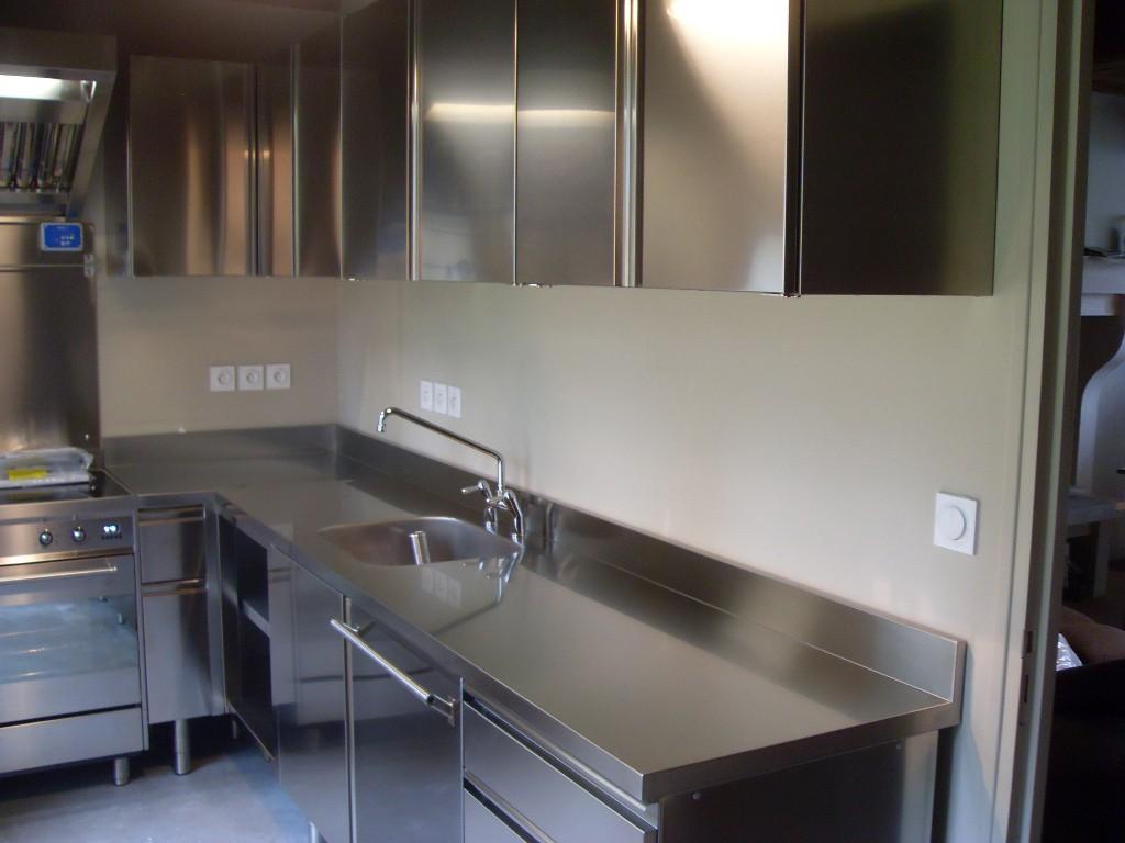 Meuble bas de cuisine en inox cuisine id es de for Meuble de cuisine en inox