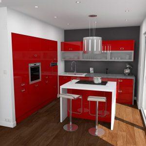 Meuble Cuisine Moderne Rouge