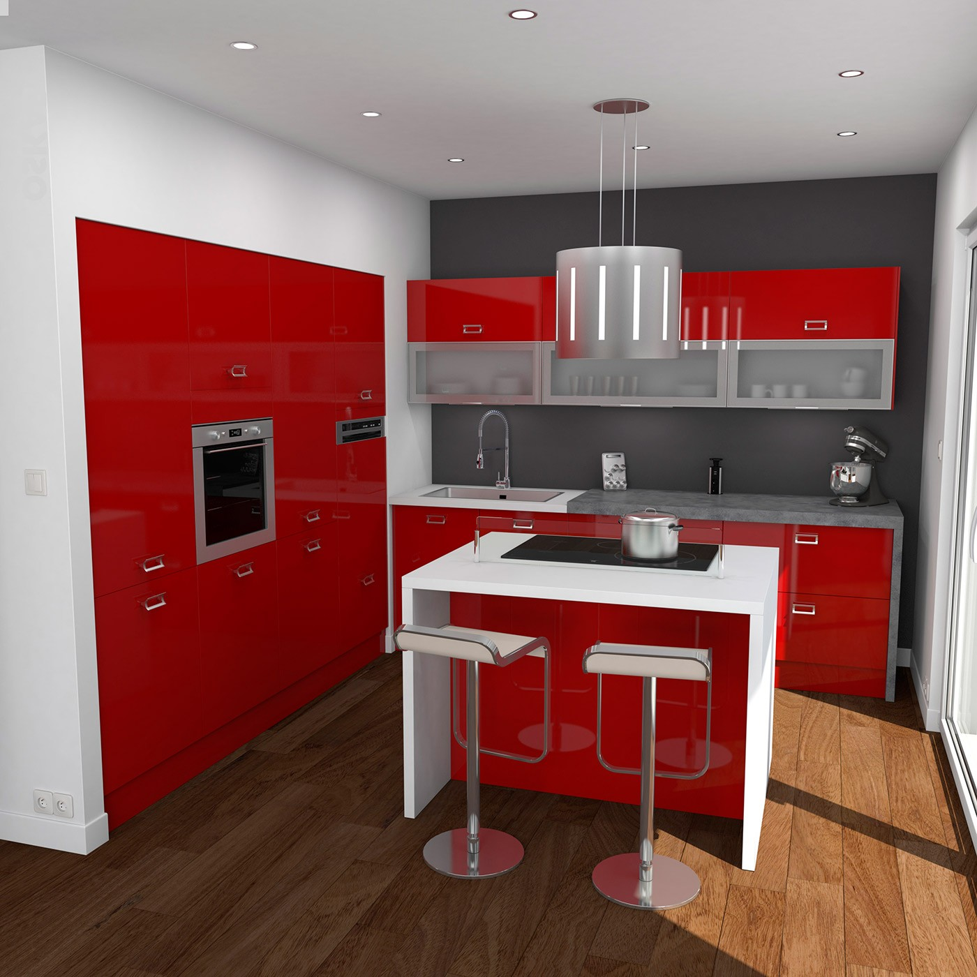 meuble cuisine moderne rouge cuisine id es de. Black Bedroom Furniture Sets. Home Design Ideas