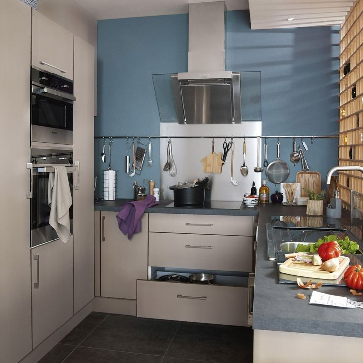 Meuble de cuisine delinia composition type loft gris effet for Cuisine type loft
