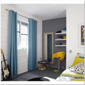 Rideau lin gris bleu rideau id es de d coration de for Rideaux turquoise et gris