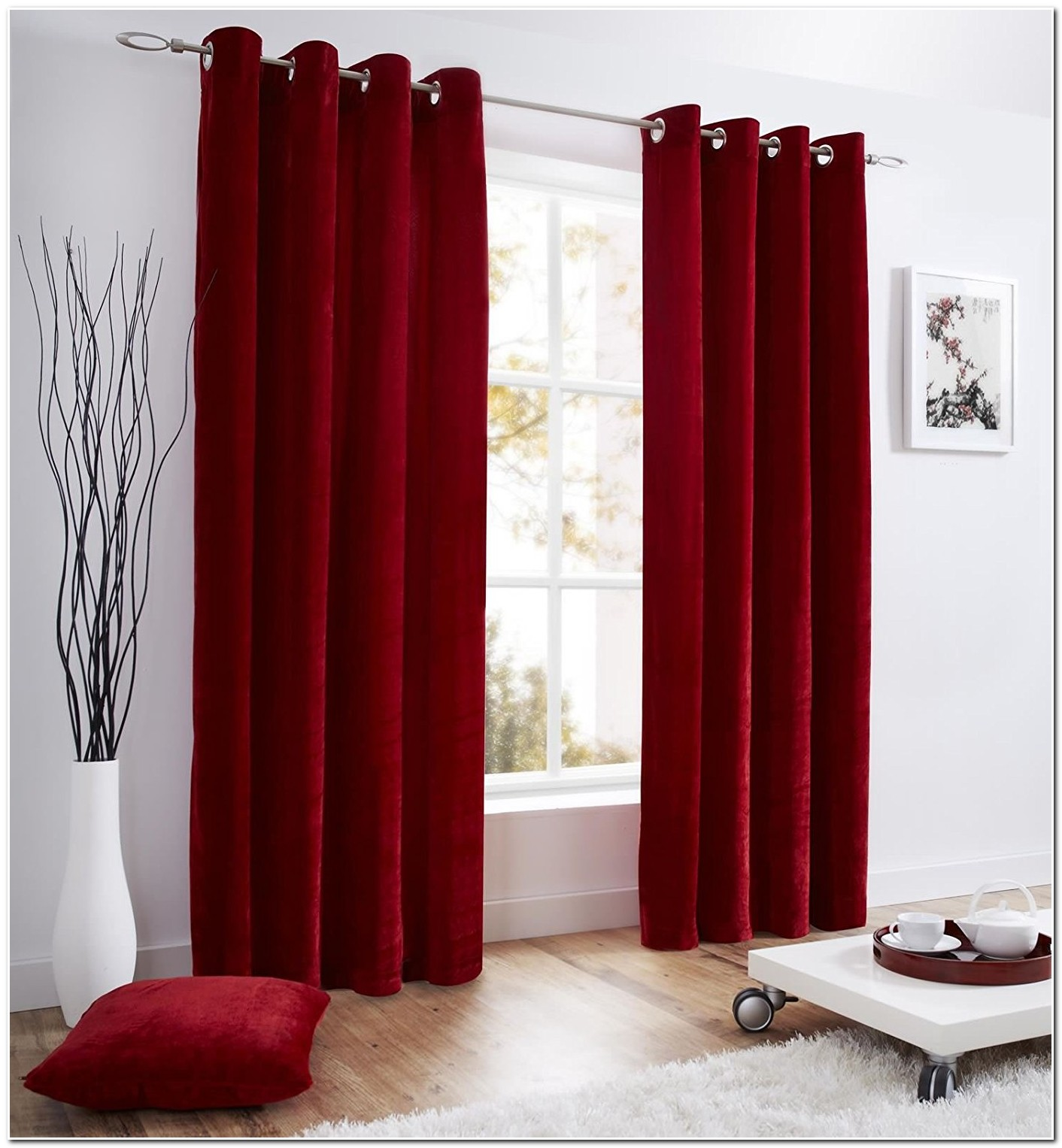 Double Rideau Velours Rouge