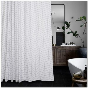 Rideau De Douche En Tissu Blanc