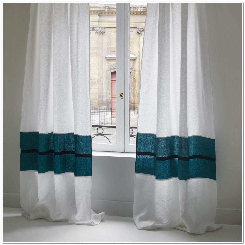Rideau De Douche En Tissu Bleu