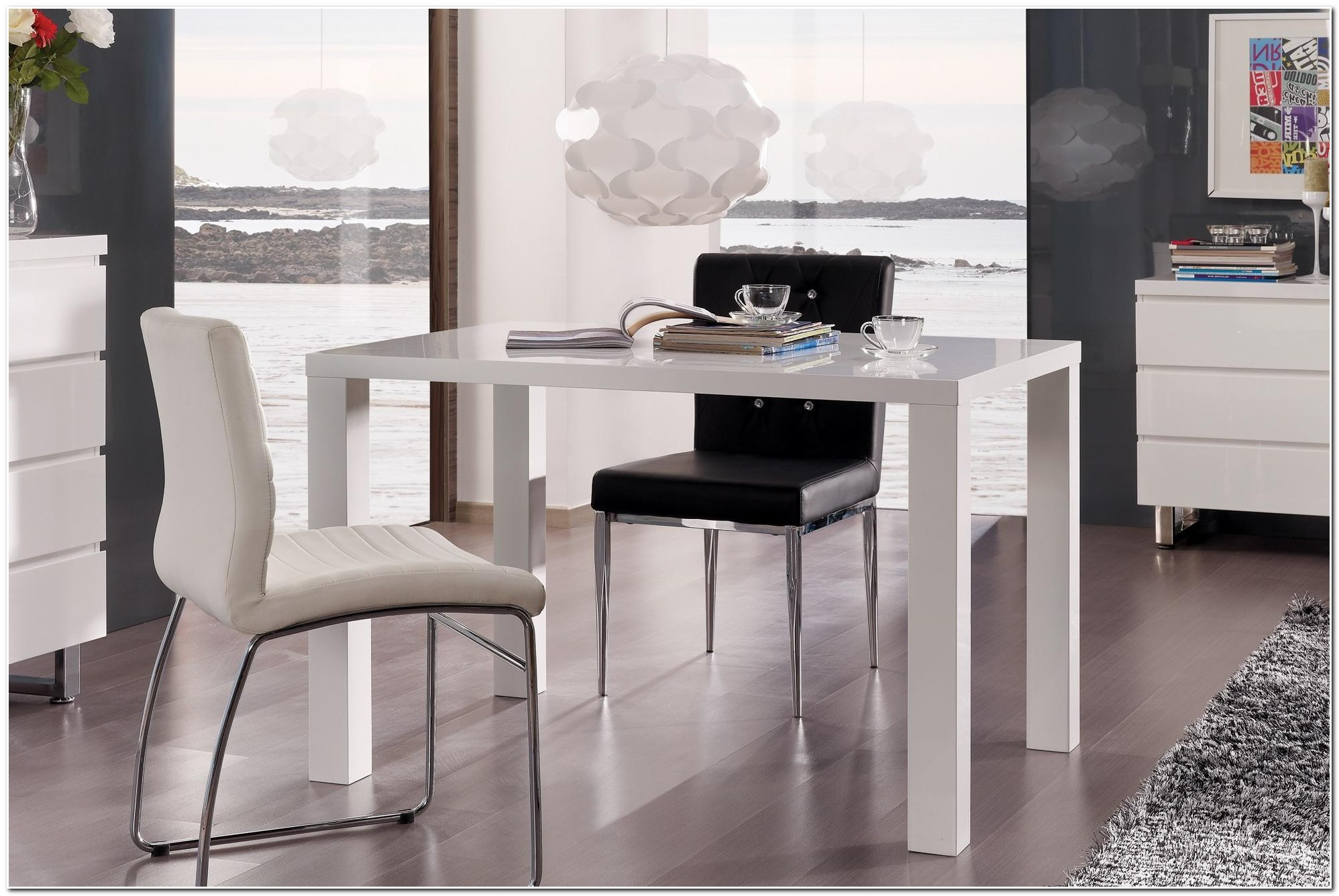 Table Salle A Manger Carree Blanc Laque