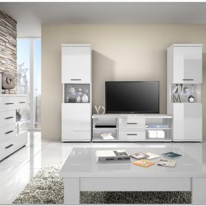 Meuble Salon Blanc Laque Et Bois