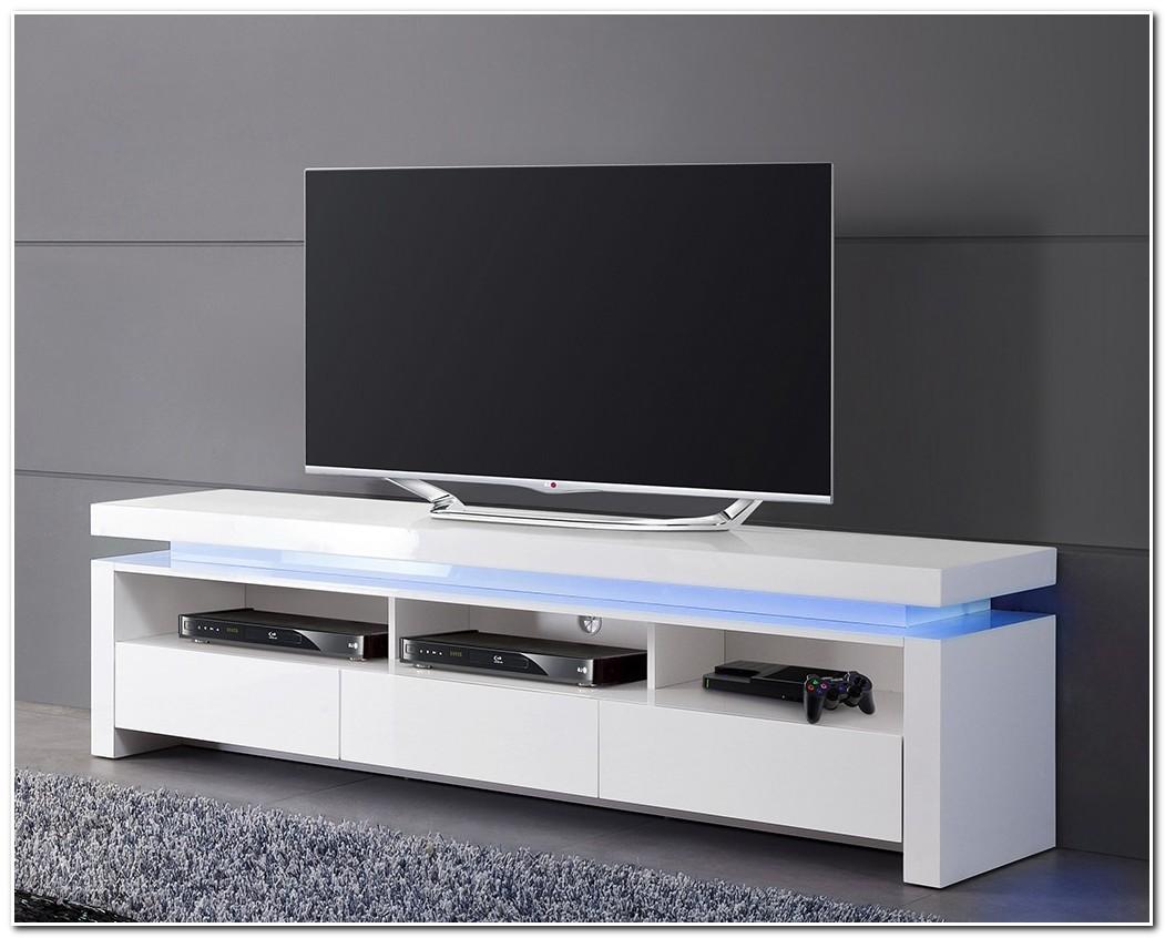 Meuble Télé Bas Blanc Laqué