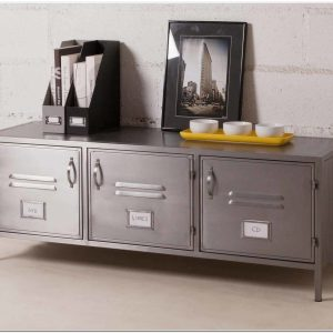 Meuble Bas Metal Gris