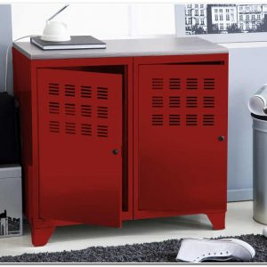 Meuble Bas Metal Rouge